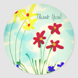Pretty Red & Yellow Fingerpaint Flowers Thank You Classic Round Sticker