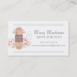Pretty sewing embroidery needle thread seamstress business card
