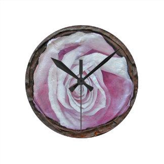 Pretty shabby chic retro pink roses wall clocks