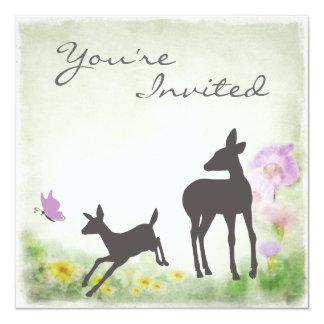 Pretty Silhouette Deer Baby Shower Invitation