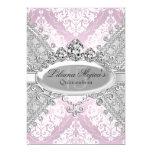Pretty Silver Pink Damask & Tiara Quinceanera 13 Cm X 18 Cm Invitation Card
