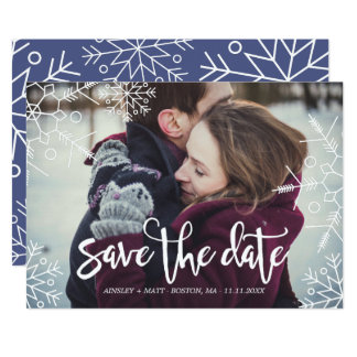 Pretty Snowflakes | Custom Photo | Save the Date Card