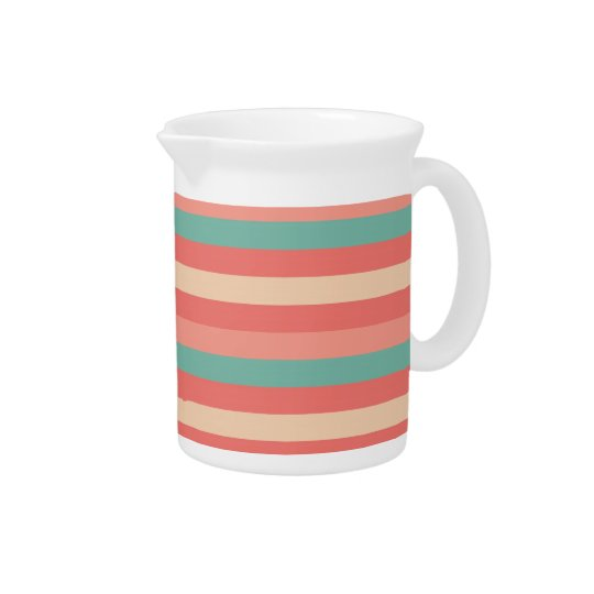 Pretty Southwestern Teal and Rose Striped Pattern Pitcher