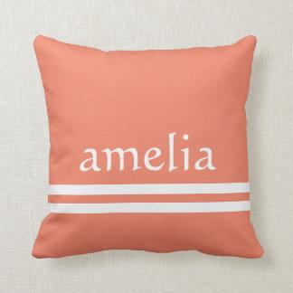 Pretty Stripes Name Monogram White Peach Throw Pillow