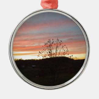 Pretty sunset Silver-Colored round decoration