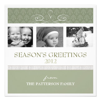 Pretty Swirl Season s Greetings Holiday Photo Card Personalized Invites