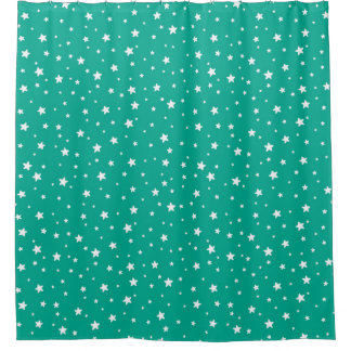 Pretty Teal and White Stars Celestial Sky Shower Curtain