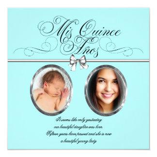 Pretty Teal Blue Photo Quinceanera 13 Cm X 13 Cm Square Invitation Card