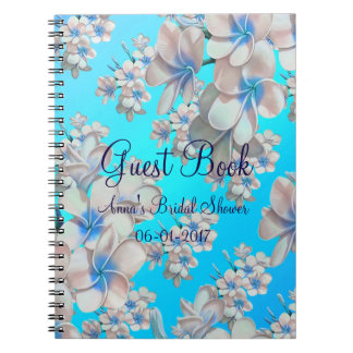 Pretty Teal Floral Bridal Shower Guest Book Spiral Note Book