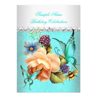 Pretty Teal Peach Roses Butterfly Birthday Party Personalized Announcements
