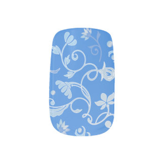Pretty Traditional Blue Floral Pattern Nail Sticker
