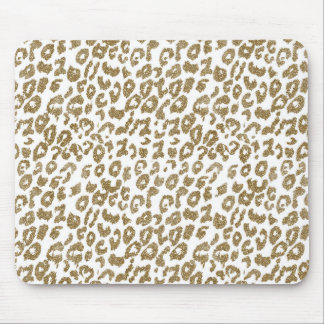 Pretty trendy faux gold glitter leopard print mouse pad