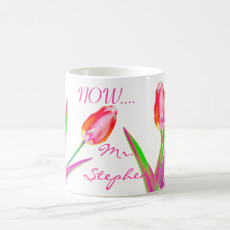 Pretty Tulips Wedding Mug for Newly Wed Couples