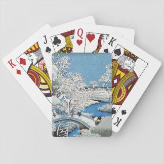 Pretty Vintage Asian Winter Scene Snow Bridge Playing Cards