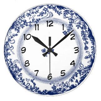 pretty vintage blue delft plate clock wallclock