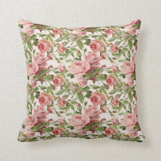 Pretty Vintage Pink Roses Throw Pillow