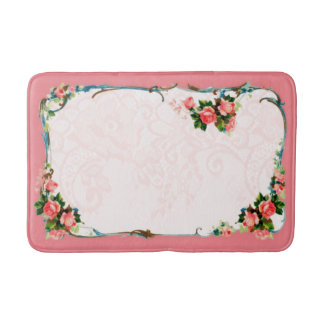 Pretty Vintage Style Pink Medium Bath Mat