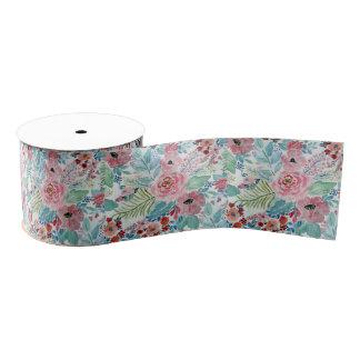 Pretty watercolor hand paint floral artwork grosgrain ribbon