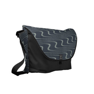 Pretty Wavy Pattern in Gray and Light Green Messenger Bags