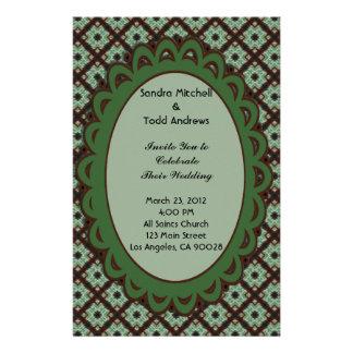 Pretty Wedding Green Brown CrissCross Pattern Stationery