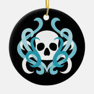 Pretty white gothic skull and light blue swirls christmas ornament