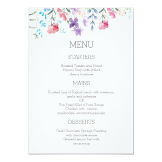 Pretty Wildflowers | 5x7 Garden Wedding Menu Card