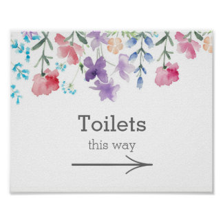 Pretty Wildflowers | Garden Wedding Toilets Sign Poster