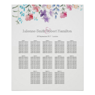Pretty Wildflowers |  Seating Chart 13 Tables Poster