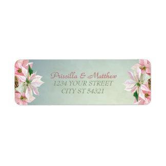 Pretty Winter Pine & Poinsettia Address Labels