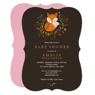 Pretty Woodland Fox Baby Shower Invitation