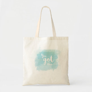 Pretty You got this blue calligraphy watercolor Tote Bag