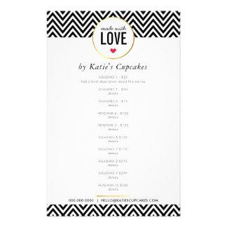 PRICE LIST made with love modern black chevron Flyer
