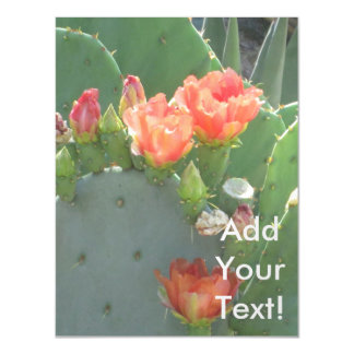 Prickly Pear Cactus Green Red Bloom Magnetic Invitations