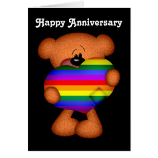 Pride Heart Teddy Bear Happy Anniversary Greeting Card