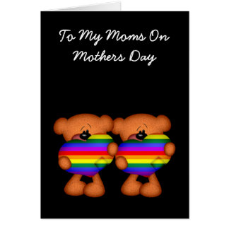 Pride Heart Teddy Bear Mothers Day Greeting Card