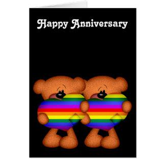 Pride Heart Teddy Bears Happy Anniversary Greeting Card