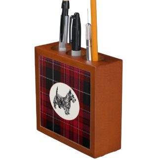Pride of Wales Plaid with Scottie Desk Organizer