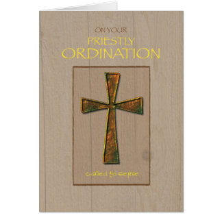 Priest Ordination Congratulations, Metal Cross Card