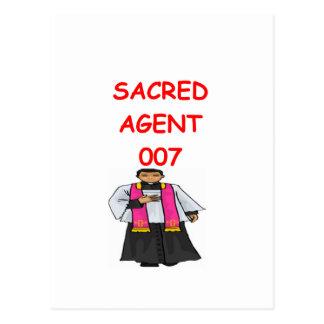 priest secret agent post card