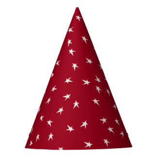 Prim White Stars on Red, 4th of July Party Hat