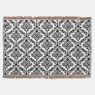 Prima Damask Big Ptn Black on White Throw Blanket