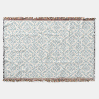 Prima Damask Pattern Blue on Cream Throw Blanket