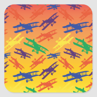 Primary Colors Vintage Biplane Airplane Pattern Square Sticker