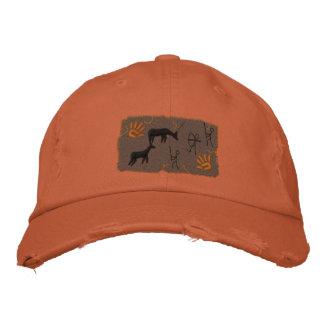 Primitive Bow Hunting Scene Embroidered Baseball Caps