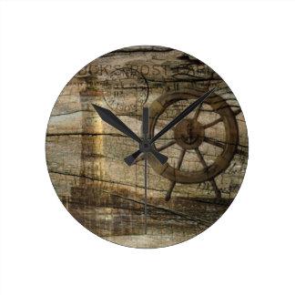 Primitive Coastal Nautical Helm Wheel lighthouse Round Clock