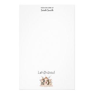 Primitive Folk Art Snowman Monogram Stationery
