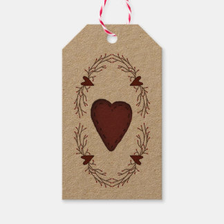 Primitive Heart Gift Tags