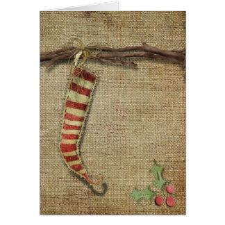 Primitive Stocking Christmas Greeting Card