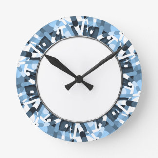Primordial Egg - Multi color abstract burst Round Clock