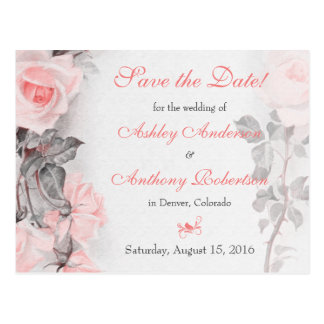Primose Pink Rose Wedding Save the Date Postcard